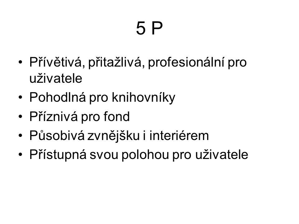 5 P Přívětivá, přitažlivá, profesionální pro uživatele Pohodlná pro knihovníky Příznivá pro fond Působivá zvnějšku i interiérem Přístupná svou polohou pro uživatele