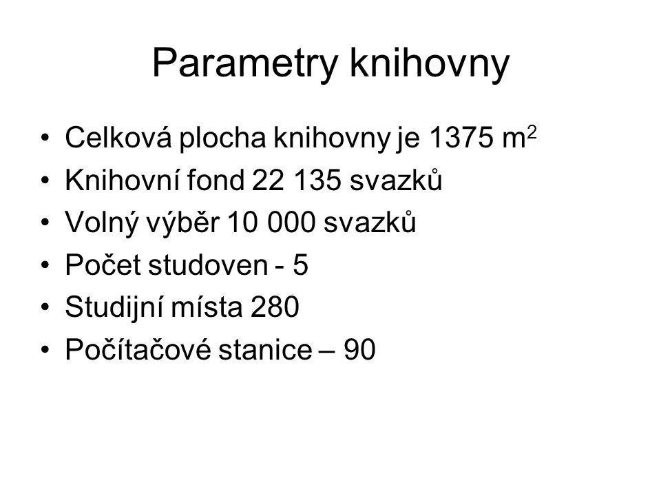 Parametry knihovny Celková plocha knihovny je 1375 m 2 Knihovní fond 22 135 svazků Volný výběr 10 000 svazků Počet studoven - 5 Studijní místa 280 Počítačové stanice – 90