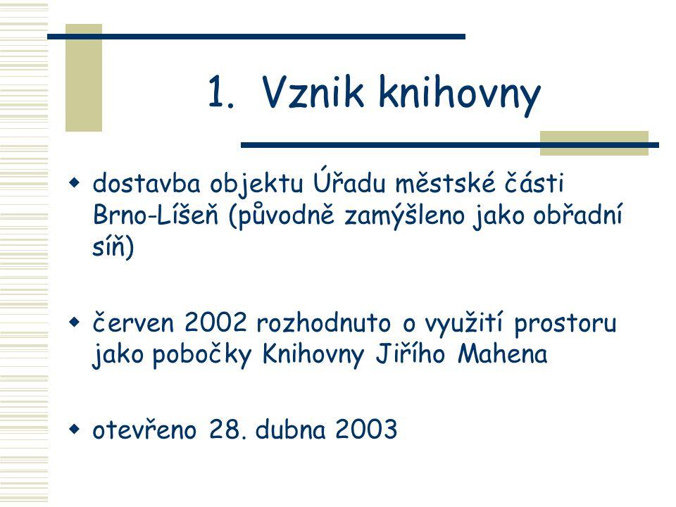Obsah prezentace 1. Vznik knihovny 2. Proč se vlastně knihovna stěhovala? 3. Základní parametry 4. Vybavení knihovny 5. Provoz knihovny 6. Zkušenosti