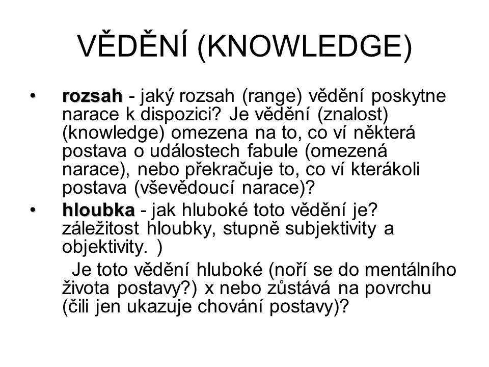 VĚDĚNÍ (KNOWLEDGE) rozsahrozsah - jaký rozsah (range) vědění poskytne narace k dispozici? Je vědění (znalost) (knowledge) omezena na to, co ví některá