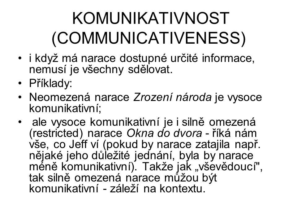 KOMUNIKATIVNOST (COMMUNICATIVENESS) i když má narace dostupné určité informace, nemusí je všechny sdělovat. Příklady: Neomezená narace Zrození národa