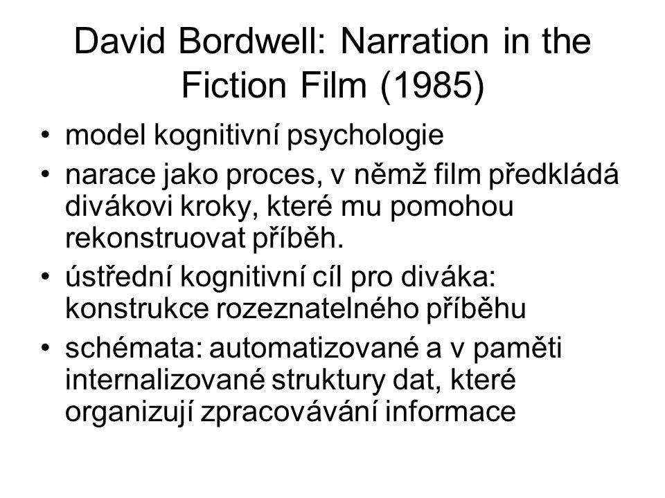 David Bordwell: Narration in the Fiction Film (1985) model kognitivní psychologie narace jako proces, v němž film předkládá divákovi kroky, které mu p