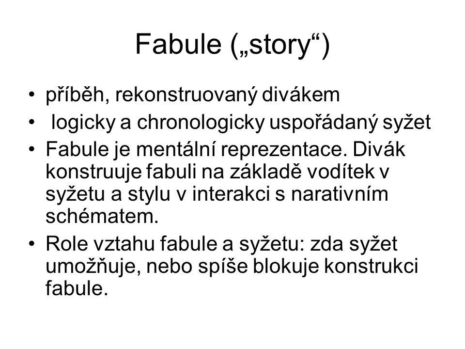 """Fabule (""""story"""") příběh, rekonstruovaný divákem logicky a chronologicky uspořádaný syžet Fabule je mentální reprezentace. Divák konstruuje fabuli na z"""