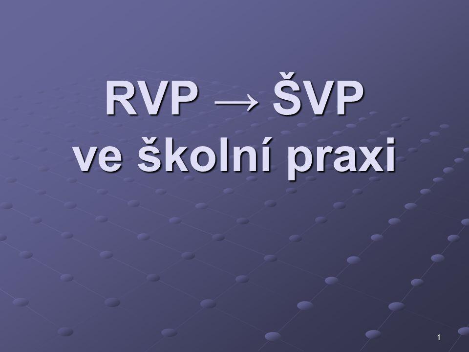 1 RVP → ŠVP ve školní praxi