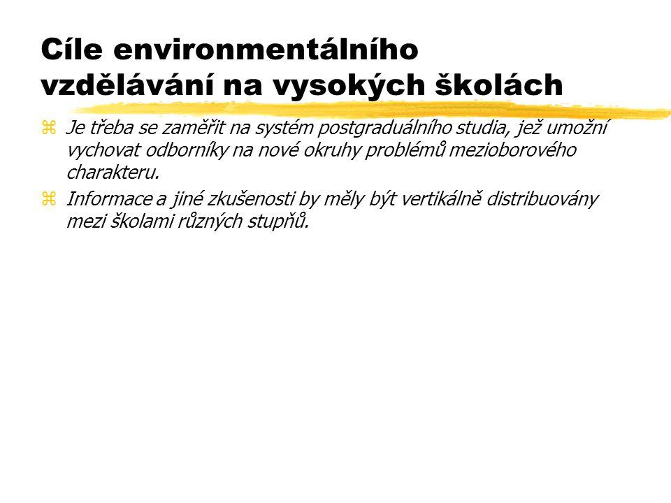 Horizontální integrace environmentálního vzdělávání mezi VŠ zPříklady: zPražská univerzita životního prostředí zSpolupráce brněnských VŠ: MU, MZLU, VUT