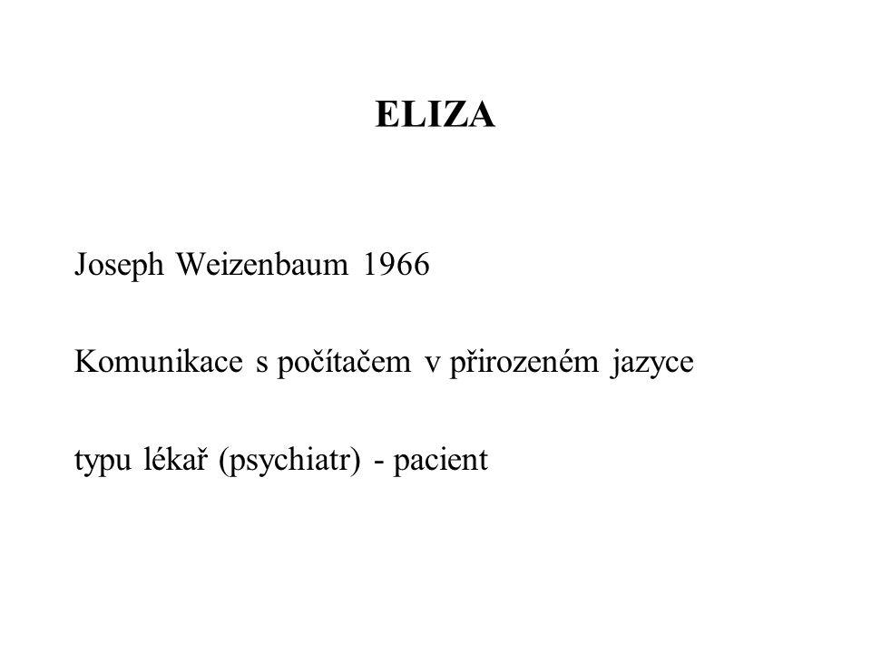 ELIZA Joseph Weizenbaum 1966 Komunikace s počítačem v přirozeném jazyce typu lékař (psychiatr) - pacient