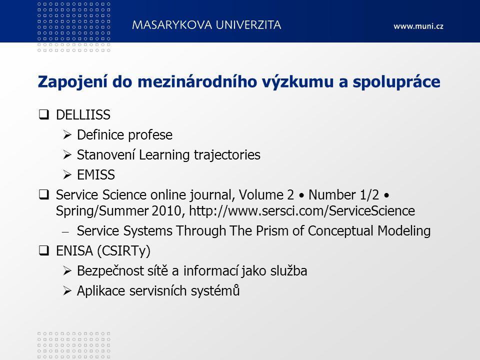 Zapojení do mezinárodního výzkumu a spolupráce  DELLIISS  Definice profese  Stanovení Learning trajectories  EMISS  Service Science online journa