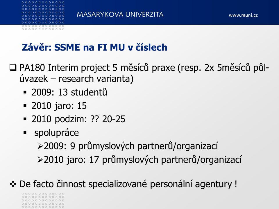 Závěr: SSME na FI MU v číslech  PA180 Interim project 5 měsíců praxe (resp. 2x 5měsíců půl- úvazek – research varianta)  2009: 13 studentů  2010 ja