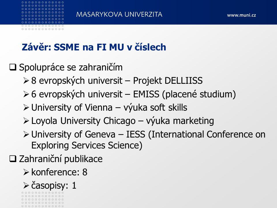 Závěr: SSME na FI MU v číslech  Spolupráce se zahraničím  8 evropských universit – Projekt DELLIISS  6 evropských universit – EMISS (placené studiu