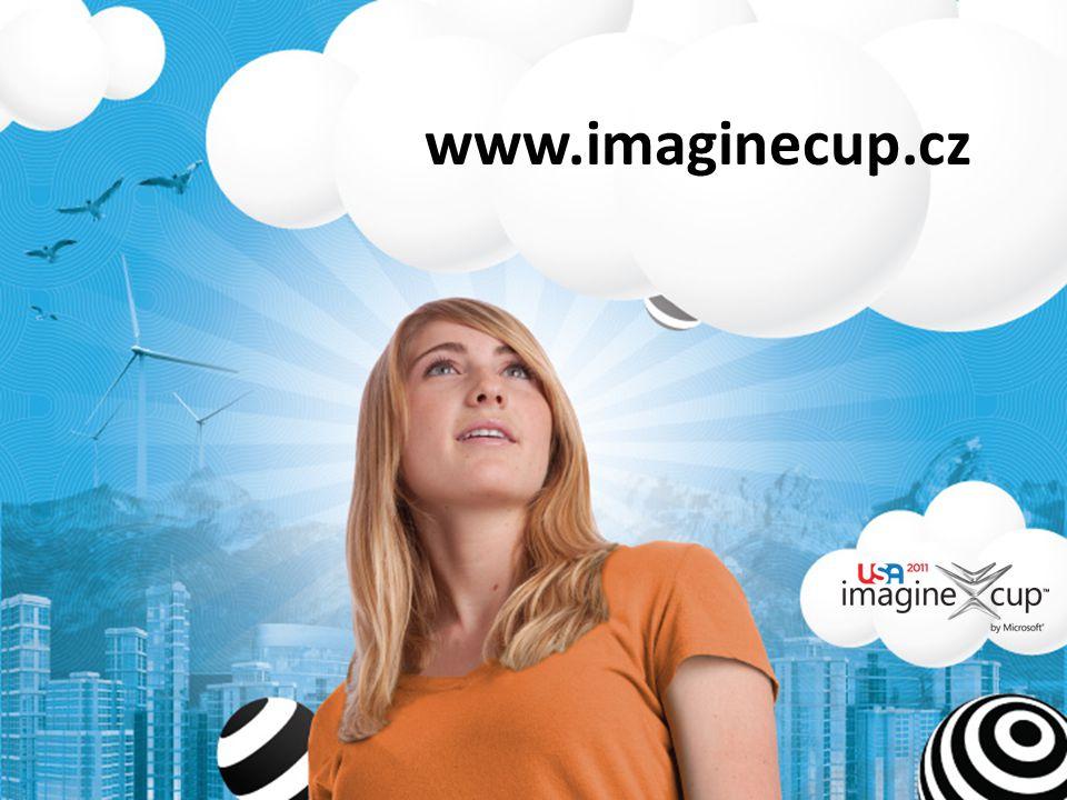 studentská technologická soutěž téma: Představte si svět kde technologie pomáhají řešit nejpalčivější problémy kategorie pro rok 2011: – Software Design – Embedded Development – Game Design – Digital Media – IT Challenge vítězové národního kola postupují do celosvětového finále Imagine Cup