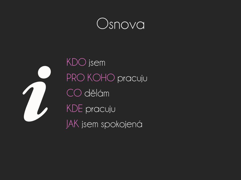 Osnova KDO jsem PRO KOHO pracuju CO dělám KDE pracuju JAK jsem spokojená
