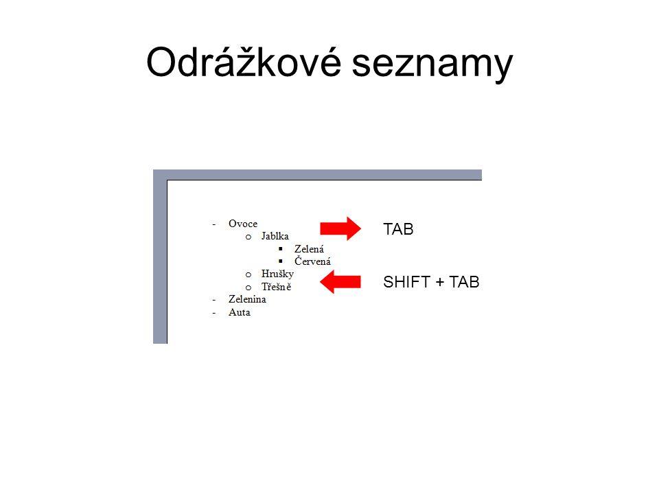 Odrážkové seznamy TAB SHIFT + TAB