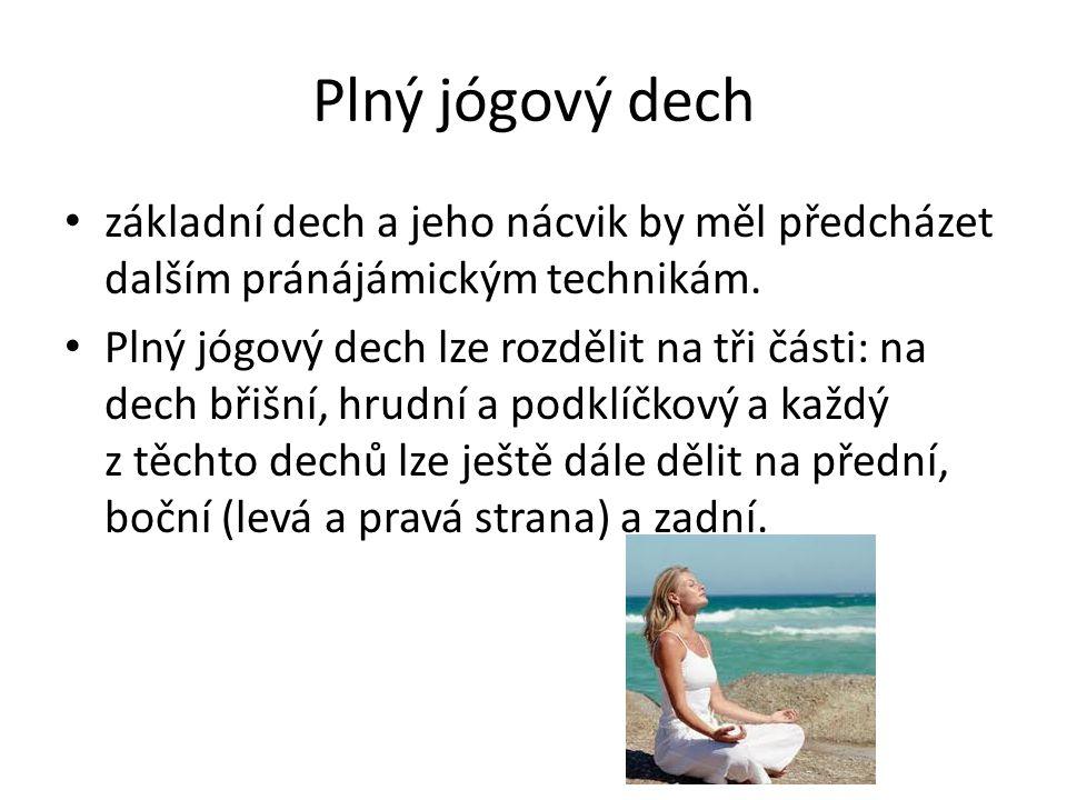 Plný jógový dech základní dech a jeho nácvik by měl předcházet dalším pránájámickým technikám. Plný jógový dech lze rozdělit na tři části: na dech bři