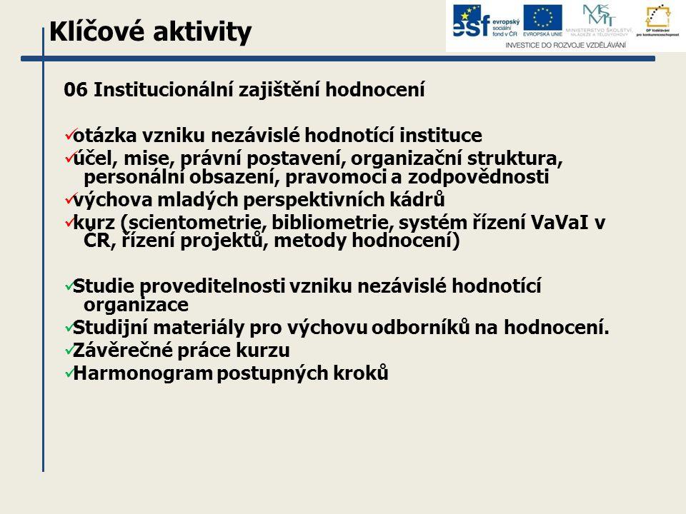 Klíčové aktivity 06 Institucionální zajištění hodnocení otázka vzniku nezávislé hodnotící instituce účel, mise, právní postavení, organizační struktur