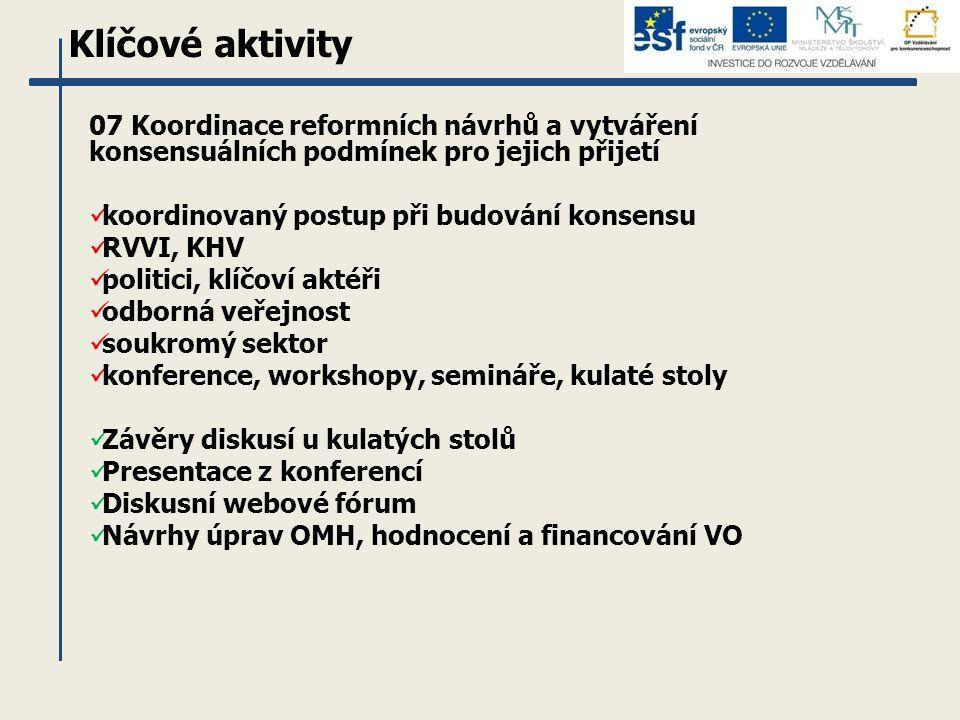 Klíčové aktivity 07 Koordinace reformních návrhů a vytváření konsensuálních podmínek pro jejich přijetí koordinovaný postup při budování konsensu RVVI