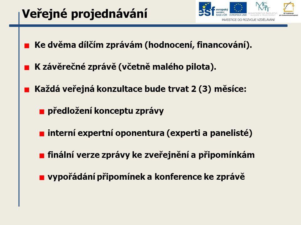 Veřejné projednávání Ke dvěma dílčím zprávám (hodnocení, financování). K závěrečné zprávě (včetně malého pilota). Každá veřejná konzultace bude trvat