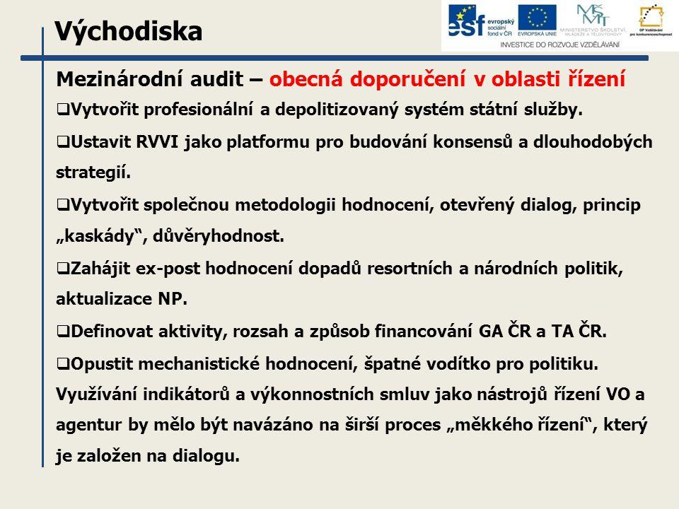 Východiska Mezinárodní audit – obecná doporučení v oblasti řízení  Vytvořit profesionální a depolitizovaný systém státní služby.  Ustavit RVVI jako