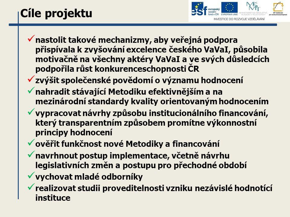 Cíle projektu nastolit takové mechanizmy, aby veřejná podpora přispívala k zvyšování excelence českého VaVaI, působila motivačně na všechny aktéry VaVaI a ve svých důsledcích podpořila růst konkurenceschopnosti ČR zvýšit společenské povědomí o významu hodnocení nahradit stávající Metodiku efektivnějším a na mezinárodní standardy kvality orientovaným hodnocením vypracovat návrhy způsobu institucionálního financování, který transparentním způsobem promítne výkonnostní principy hodnocení ověřit funkčnost nové Metodiky a financování navrhnout postup implementace, včetně návrhu legislativních změn a postupu pro přechodné období vychovat mladé odborníky realizovat studii proveditelnosti vzniku nezávislé hodnotící instituce