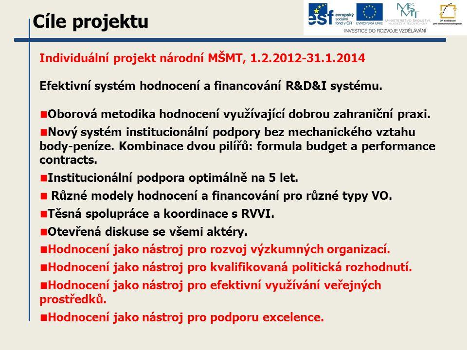 Cíle projektu Individuální projekt národní MŠMT, 1.2.2012-31.1.2014 Efektivní systém hodnocení a financování R&D&I systému. Oborová metodika hodnocení