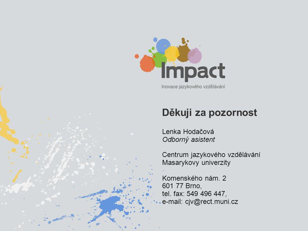 Děkuji za pozornost Lenka Hodačová Odborný asistent Centrum jazykového vzdělávání Masarykovy univerzity Komenského nám.