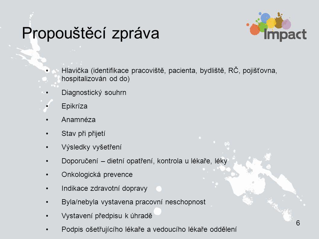 Propouštěcí zpráva Hlavička (identifikace pracoviště, pacienta, bydliště, RČ, pojišťovna, hospitalizován od do) Diagnostický souhrn Epikríza Anamnéza