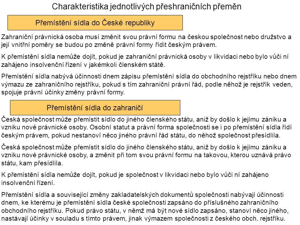 Charakteristika jednotlivých přeshraničních přeměn Přemístění sídla do České republiky Zahraniční právnická osoba musí změnit svou právní formu na českou společnost nebo družstvo a její vnitřní poměry se budou po změně právní formy řídit českým právem.