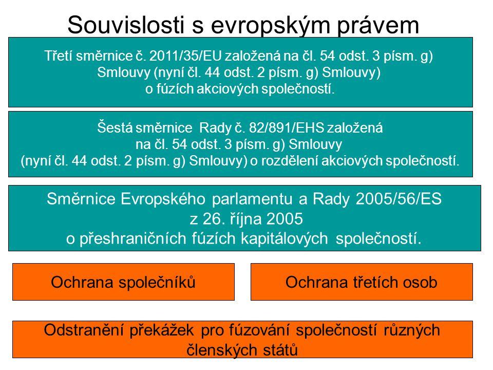 Souvislosti s evropským právem Třetí směrnice č. 2011/35/EU založená na čl. 54 odst. 3 písm. g) Smlouvy (nyní čl. 44 odst. 2 písm. g) Smlouvy) o fúzíc
