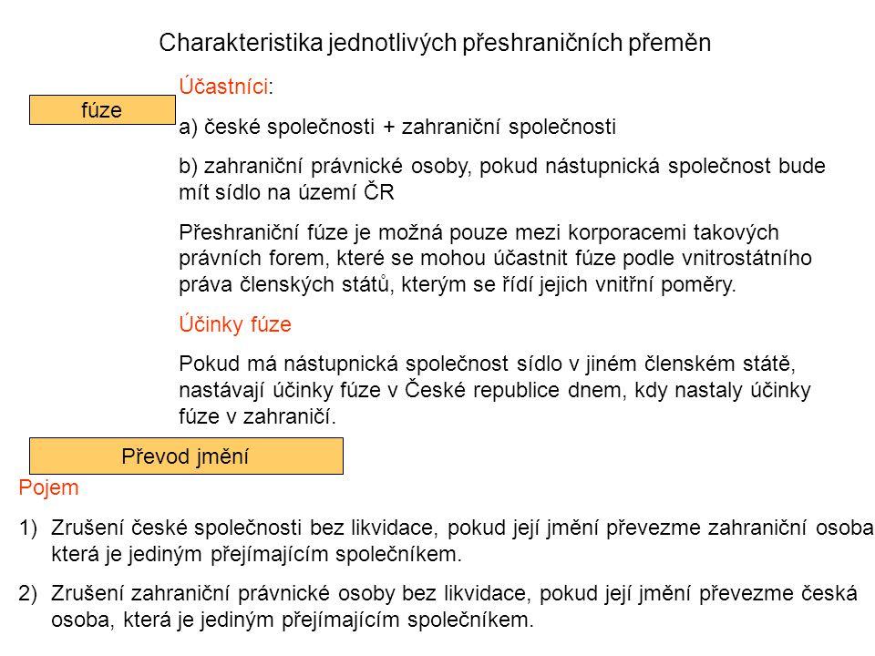 Charakteristika jednotlivých přeshraničních přeměn fúze Účastníci: a) české společnosti + zahraniční společnosti b) zahraniční právnické osoby, pokud