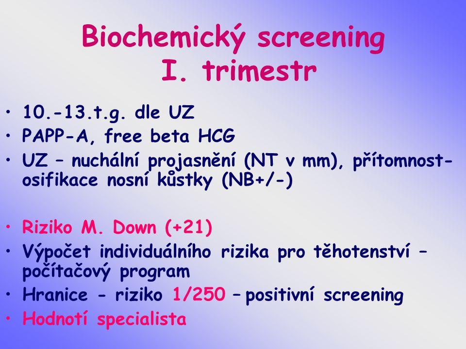 Biochemický screening I. trimestr 10.-13.t.g. dle UZ PAPP-A, free beta HCG UZ – nuchální projasnění (NT v mm), přítomnost- osifikace nosní kůstky (NB+