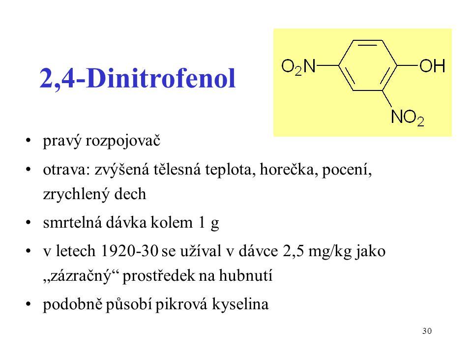 30 2,4-Dinitrofenol pravý rozpojovač otrava: zvýšená tělesná teplota, horečka, pocení, zrychlený dech smrtelná dávka kolem 1 g v letech 1920-30 se uží