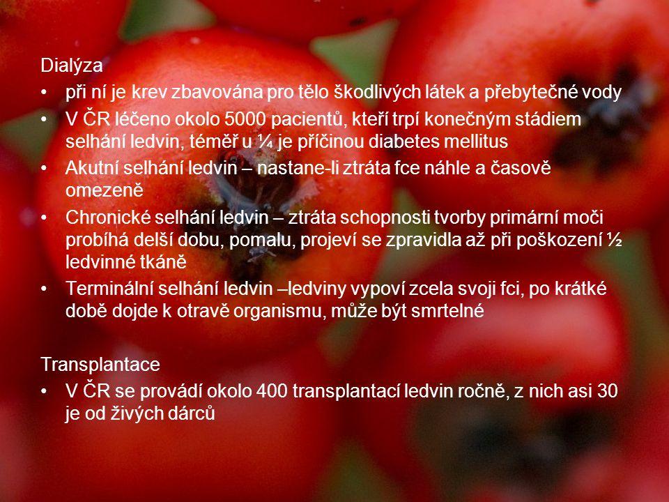 Dialýza při ní je krev zbavována pro tělo škodlivých látek a přebytečné vody V ČR léčeno okolo 5000 pacientů, kteří trpí konečným stádiem selhání ledv