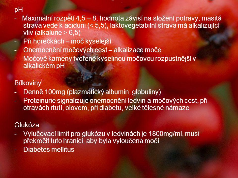 pH - Maximální rozpětí 4,5 – 8, hodnota závisí na složení potravy, masitá strava vede k acidurii ( 6,5) -Při horečkách – moč kyselejší -Onemocnění moč