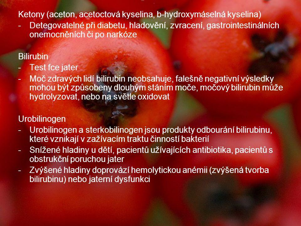 Ketony (aceton, acetoctová kyselina, b-hydroxymáselná kyselina) -Detegovatelné při diabetu, hladovění, zvracení, gastrointestinálních onemocněních či