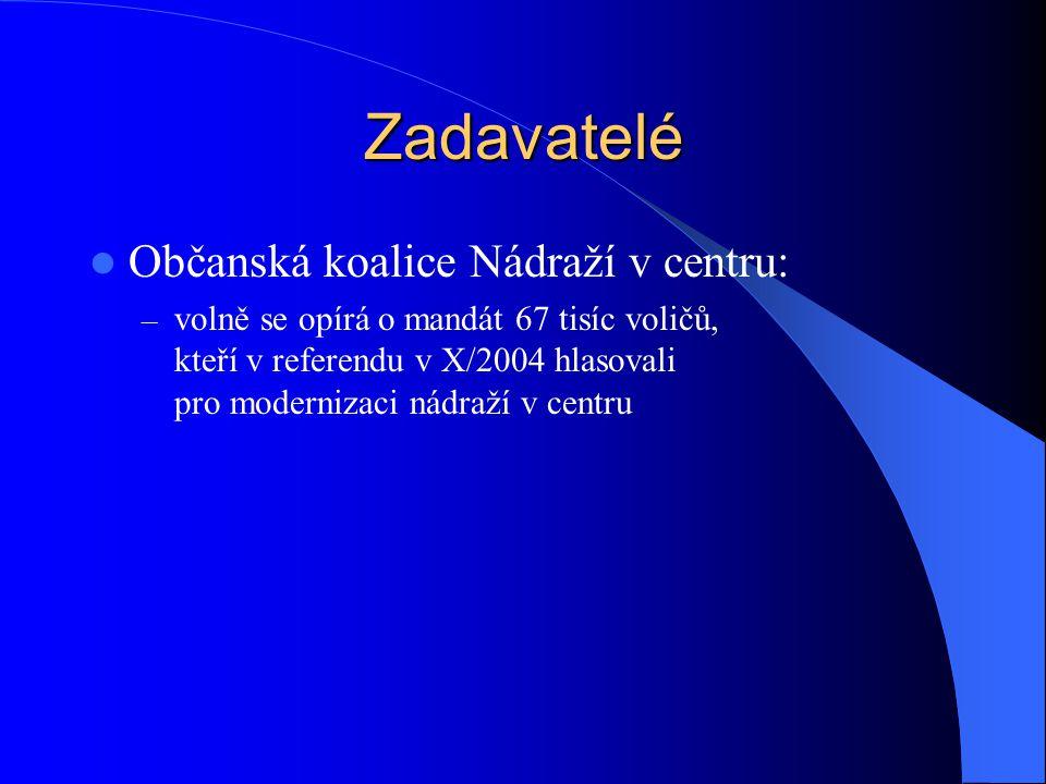 Zadavatelé Občanská koalice Nádraží v centru: – volně se opírá o mandát 67 tisíc voličů, kteří v referendu v X/2004 hlasovali pro modernizaci nádraží v centru