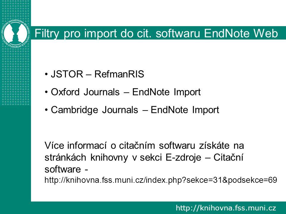 http://knihovna.fss.muni.cz Filtry pro import do cit.