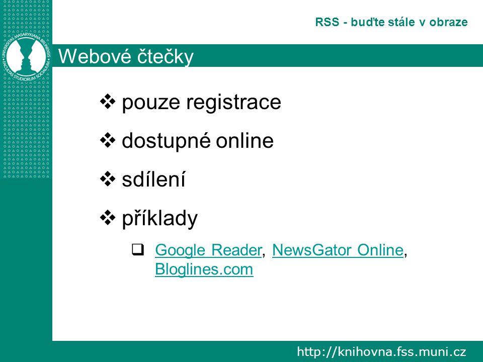 http://knihovna.fss.muni.cz RSS - buďte stále v obraze Webové čtečky  pouze registrace  dostupné online  sdílení  příklady  Google Reader, NewsGator Online, Bloglines.com Google ReaderNewsGator Online Bloglines.com