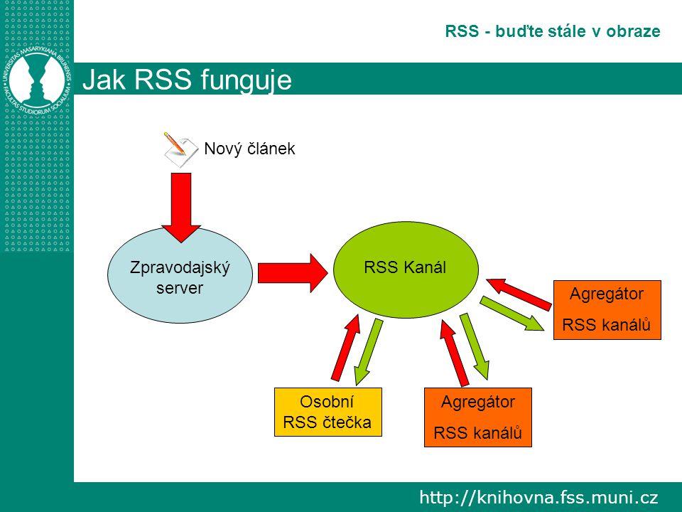 http://knihovna.fss.muni.cz RSS - buďte stále v obraze Jak RSS funguje Zpravodajský server Nový článek RSS Kanál Osobní RSS čtečka Agregátor RSS kanálů Agregátor RSS kanálů