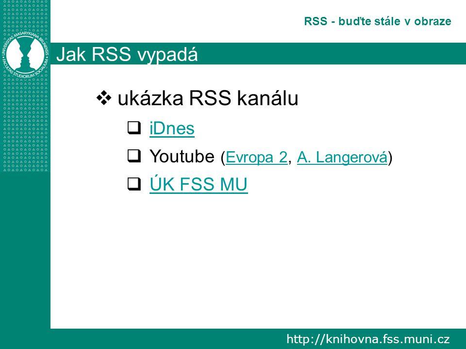 http://knihovna.fss.muni.cz RSS - buďte stále v obraze Jak RSS vypadá  ukázka RSS kanálu  iDnes iDnes  Youtube (Evropa 2, A.
