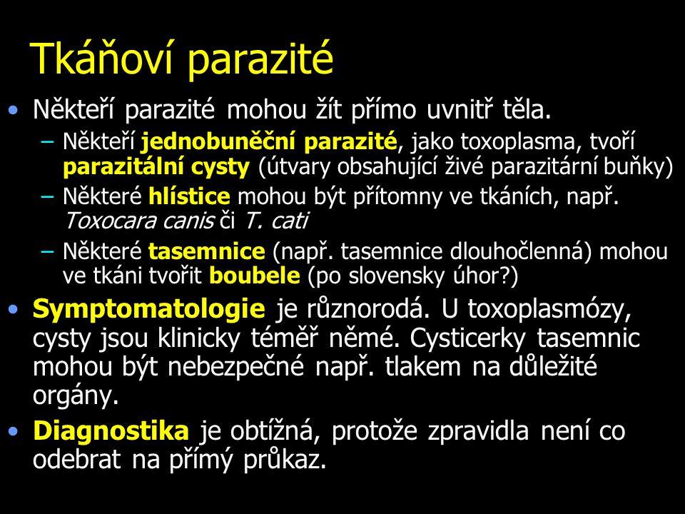 Tkáňoví parazité Někteří parazité mohou žít přímo uvnitř těla. –Někteří jednobuněční parazité, jako toxoplasma, tvoří parazitální cysty (útvary obsahu