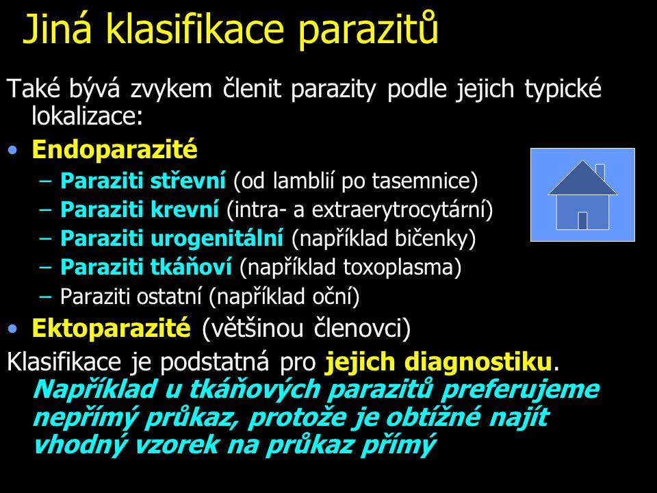 Jiná klasifikace parazitů Také bývá zvykem členit parazity podle jejich typické lokalizace: Endoparazité –Paraziti střevní (od lamblií po tasemnice) –