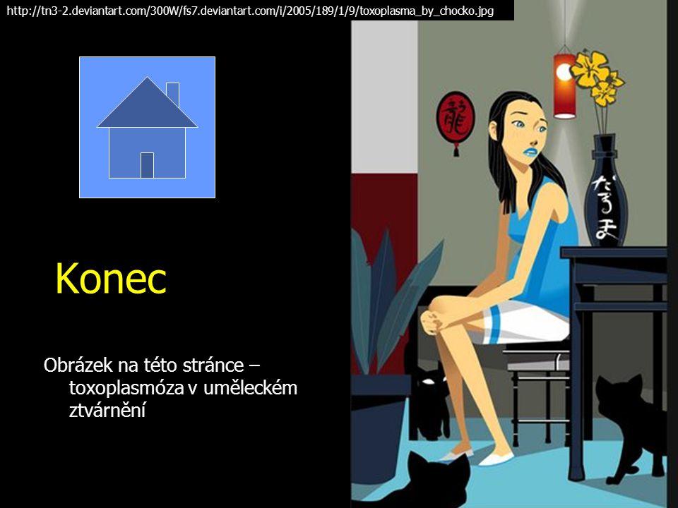 Konec Obrázek na této stránce – toxoplasmóza v uměleckém ztvárnění http://tn3-2.deviantart.com/300W/fs7.deviantart.com/i/2005/189/1/9/toxoplasma_by_ch