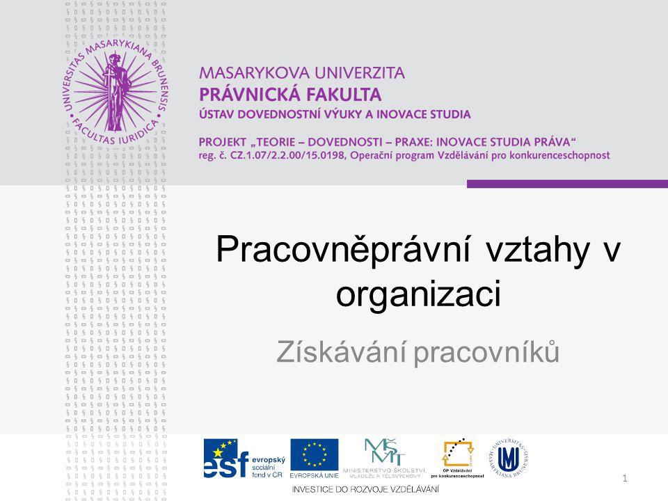 1 Pracovněprávní vztahy v organizaci Získávání pracovníků