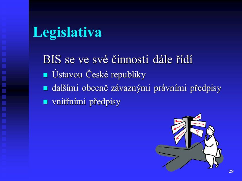 29 Legislativa BIS se ve své činnosti dále řídí Ústavou České republiky dalšími obecně závaznými právními předpisy vnitřními předpisy