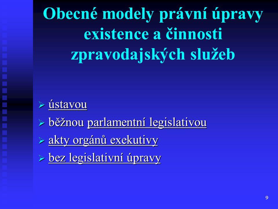 9 Obecné modely právní úpravy existence a činnosti zpravodajských služeb  ústavou  běžnou parlamentní legislativou  akty orgánů exekutivy  bez leg
