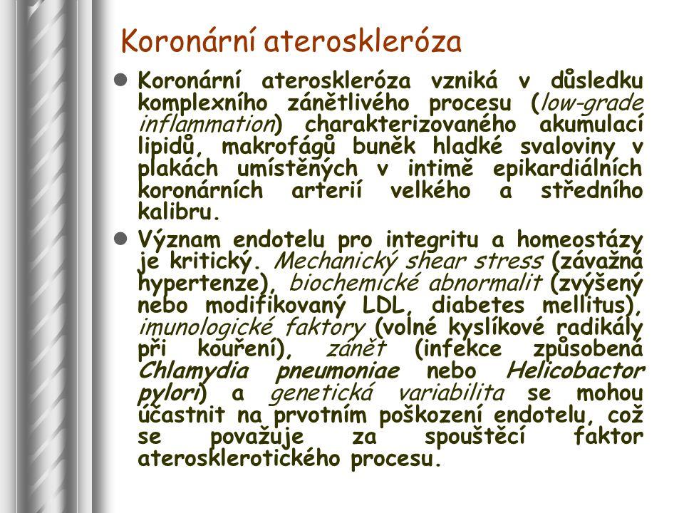 Koronární ateroskleróza Koronární ateroskleróza vzniká v důsledku komplexního zánětlivého procesu (low-grade inflammation) charakterizovaného akumulací lipidů, makrofágů buněk hladké svaloviny v plakách umístěných v intimě epikardiálních koronárních arterií velkého a středního kalibru.