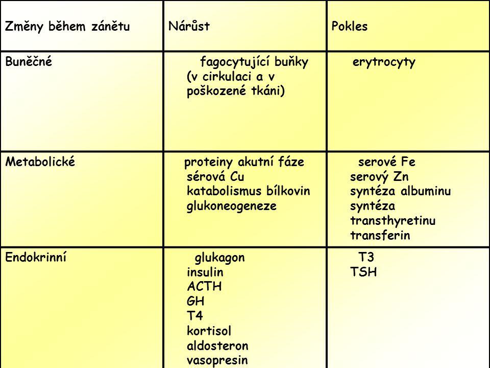 Změny během zánětuNárůstPokles Buněčné fagocytující buňky (v cirkulaci a v poškozené tkáni) erytrocyty Metabolické proteiny akutní fáze sérová Cu katabolismus bílkovin glukoneogeneze serové Fe serový Zn syntéza albuminu syntéza transthyretinu transferin Endokrinní glukagon insulin ACTH GH T4 kortisol aldosteron vasopresin T3 TSH