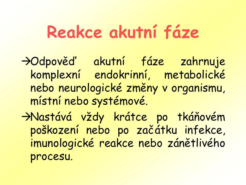 Reakce akutní fáze  Odpověď akutní fáze zahrnuje komplexní endokrinní, metabolické nebo neurologické změny v organismu, místní nebo systémové.  Nast