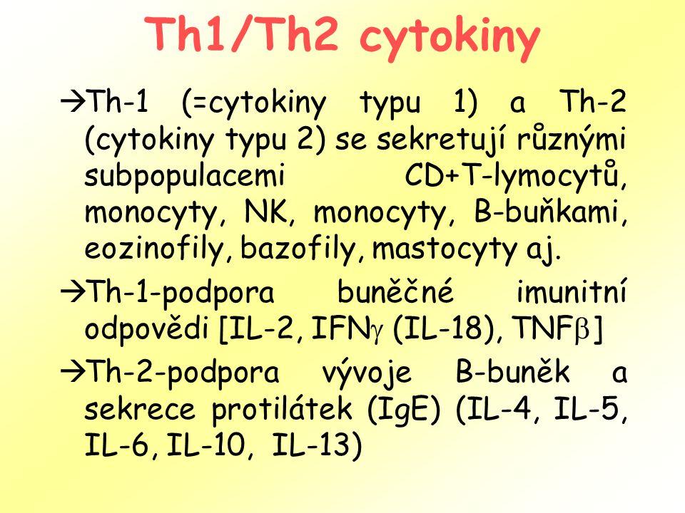 Th1/Th2 cytokiny  Th-1 (=cytokiny typu 1) a Th-2 (cytokiny typu 2) se sekretují různými subpopulacemi CD+T-lymocytů, monocyty, NK, monocyty, B-buňkami, eozinofily, bazofily, mastocyty aj.