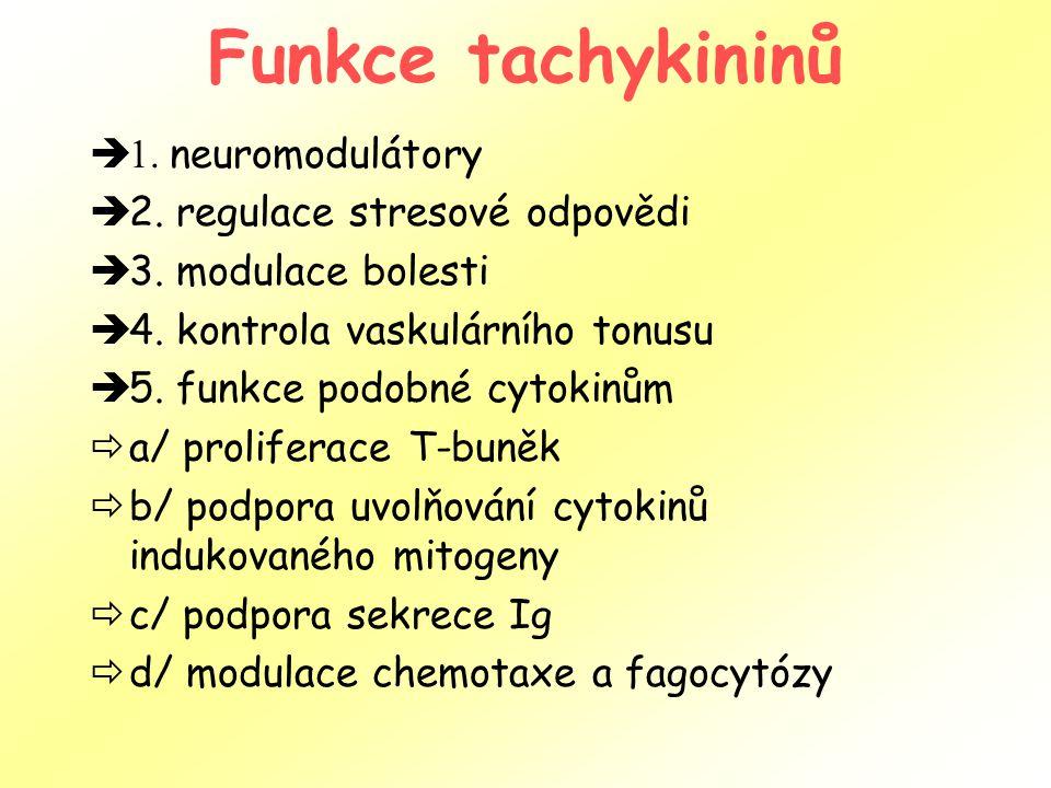 Funkce tachykininů  1. neuromodulátory  2. regulace stresové odpovědi  3. modulace bolesti  4. kontrola vaskulárního tonusu  5. funkce podobné cy