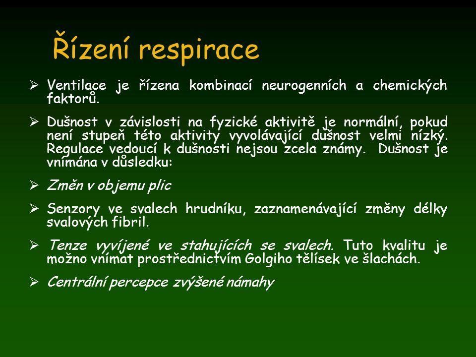 Řízení respirace  Ventilace je řízena kombinací neurogenních a chemických faktorů.  Dušnost v závislosti na fyzické aktivitě je normální, pokud není